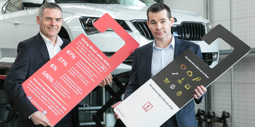 Photographer Paul Sherwood paul@sherwood.ie; 087 230 9096 www.sherwood.ie Skoda Ireland and Irish Blood Transfusion Service launch a campaign to encourage drivers to give blood, pictured at Pilsen Auto, Skoda Dealer, Ballymount, Dublin. February 2019. Stephen Cousins, National Donor Services Manager, Irish Blood Transfusion Service, William Lee, Head of After Sales, ŠKODA Ireland